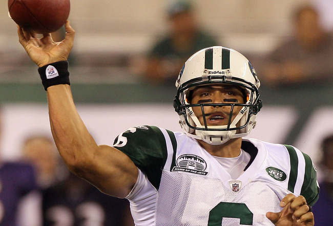 EAST RUTHERFORD, NJ - SEPTEMBER 13:  Mark Sanchez #6 of the New York Jets throws a pass against the Baltimore Ravens during their home opener at the New Meadowlands Stadium on September 13, 2010 in East Rutherford, New Jersey.  (Photo by Jim McIsaac/Getty