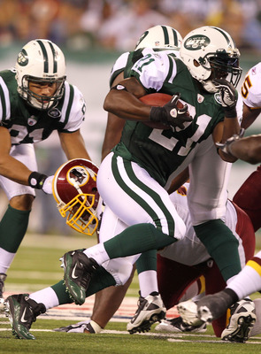EAST RUTHERFORD, NJ - AUGUST 27:  LaDainian Tomlinson #21 of the New York Jets in action against the Washington Redskins  during their preseason game on August 27, 2010 at the New Meadowlands Stadium  in East Rutherford, New Jersey.  (Photo by Al Bello/Ge