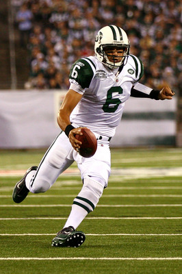 EAST RUTHERFORD, NJ - SEPTEMBER 13:  Mark Sanchez #6 of the New York Jets runs against the Baltimore Ravens during their home opener at the New Meadowlands Stadium on September 13, 2010 in East Rutherford, New Jersey.  (Photo by Andrew Burton/Getty Images
