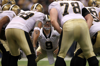 NEW ORLEANS - SEPTEMBER 09:  Quarterback Drew Brees #9 of the New Orleans Saints at Louisiana Superdome on September 9, 2010 in New Orleans, Louisiana.  (Photo by Ronald Martinez/Getty Images)
