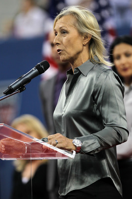 NEW YORK - AUGUST 30:  Tennis great Martina Navratilova speaks during the opening ceremony of the 2010 U.S. Open at the USTA Billie Jean King National Tennis Center on August 30, 2010 in the Flushing neighborhood of the Queens borough of New York City.  (