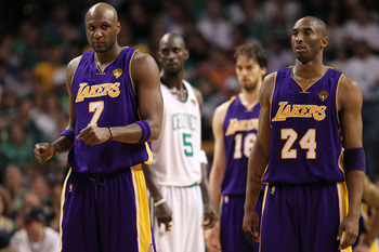 BOSTON - JUNE 10:  Lamar Odom #7 and Kobe Bryant #24 of the Los Angeles Lakers stand on the court during the game against the Boston Celtics during Game Four of the 2010 NBA Finals on June 10, 2010 at TD Garden in Boston, Massachusetts. NOTE TO USER: User