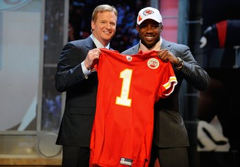 NEW YORK - APRIL 22:  Eric Berry (R) from the Tennessee Volunteers poses with NFL Commissioner Roger Goodell as they hold a Kansas City Chiefs jersey after Chiefs selected Berry number 5 overall in the first round of the 2010 NFL Draft at Radio City Music