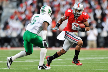COLUMBUS, OH - SEPTEMBER 2: DeVier Posey #8 of the Ohio State Buckeyes runs with the ball against the the Marshall Thundering Herd at Ohio Stadium on September 2, 2010 in Columbus, Ohio. (Photo by Jamie Sabau/Getty Images)