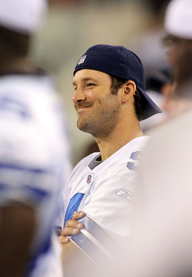ARLINGTON, TX - SEPTEMBER 02:  Quarterback Tony Romo #9 of the Dallas Cowboys on the sidelines during a preseason game against the Miami Dolphins at Cowboys Stadium on September 2, 2010 in Arlington, Texas.  (Photo by Ronald Martinez/Getty Images)