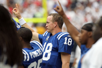 HOUSTON - SEPTEMBER 12:  Quarterback Peyton Manning #18 of the Indianapolis Colts shows his support of union solidarity before a NFL season opener game against the Houston Texans at Reliant Stadium on September 12, 2010 in Houston, Texas.  (Photo by Ronal