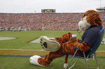 AUBURN, AL - OCTOBER 23:  Aubie, the mascot of the Auburn University Tigers, rests during the game against the University of Kentucky Wildcats on October 23, 2004 at Jordan-Hare stadium in Auburn, Alabama.  Auburn defeated Kentucky 41-10.  (Photo by Chris