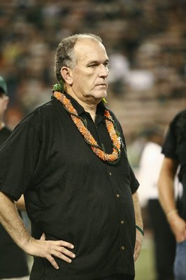 HONOLULU - DECEMBER 2:  Head coach June Jones of the Hawaii Warriors looks on after the victory against the Washington Huskies on December 1, 2007 at Aloha Stadium in Honolulu, Hawaii.  Hawaii won 35-28 and finished the season undefeated at 12-0.  (Photo