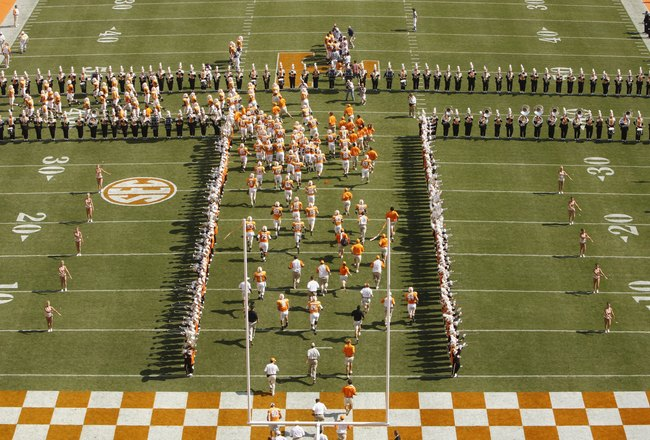 KNOXVILLE, TN - SEPTEMBER 20: The Tennessee marching band performs on the field during the game between the Florida Gators and the Tennessee Volunteers at Neyland Stadium on September 20, 2008 in Knoxville, Tennessee.  (Photo by Streeter Lecka/Getty Image