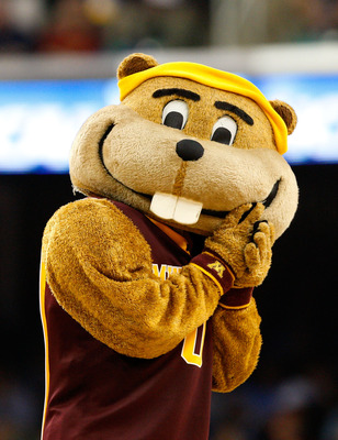 GREENSBORO, NC - MARCH 19:  The mascot of the Minnesota Golden Gophers cheers on his team against the Texas Longhorns during the first round of the NCAA Division I Men's Basketball Tournament at the Greensboro Coliseum on March 19, 2009 in Greensboro, Nor