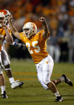 KNOXVILLE, TN - SEPTEMBER 18:  James Wilhoit #25 of the Tennessee Volunteers celebrates after kicking a 50 yard field goal to win the game 30-28 over the Florida Gators at Neyland Stadium on September 18, 2004 in Knoxville, Tennessee.  (Photo by Streeter