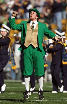 SOUTH BEND, IN - OCTOBER 20: The leprechaun mascot of the Notre Dame Fighting Irish yells on the field during the game against the University of Southern California Trojans at Notre Dame Stadium October 20, 2007 in South Bend, Indiana. USC defeated Notre