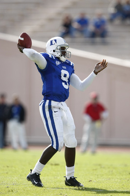 DURHAM, NC - NOVEMBER 14:  Thaddeus Lewis #9 of the Duke Blue Devils passes the football against the Georgia Tech Yellow Jackets at Wallace Wade Stadium on November 14, 2009 in Durham, North Carolina. (Photo by Joe Robbins/Getty Images)