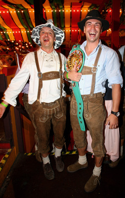 MUNICH, GERMANY - SEPTEMBER 30:  WBC Interim Middleweight World Championship Sebastian Zbik (R) and a visitor of the Oktoberfest pose for a picture at the Hippodrom beer tent on September 30, 2009 in Munich, Germany.  (Photo by Miguel Villagran/Getty Imag