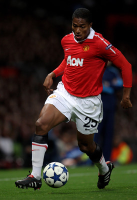 Antonio Valencia of Manchester United in action during the UEFA Champions League Group C match between Manchester United and Rangers at Old Trafford on September 14, 2010 in Manchester, England.