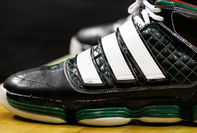 ORLANDO, FL - MAY 26:  A detail of adidas sneakers worn by Kevin Garnett #5 of the Boston Celtics against the Orlando Magic in Game Five of the Eastern Conference Finals during the 2010 NBA Playoffs at Amway Arena on May 26, 2010 in Orlando, Florida.  NOT
