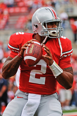 COLUMBUS, OH - SEPTEMBER 11:  Quarterback Terrelle Pryor #2 of the Ohio State Buckeyes warms up before a game against the Miami Hurricanes at Ohio Stadium on September 11, 2010 in Columbus, Ohio.  (Photo by Jamie Sabau/Getty Images)