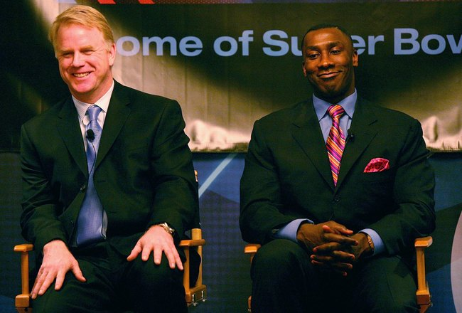 PASADENA, CA - JANUARY 18:  Analysts Boomer Esiason and Shannon Sharpe of 'NFL Today' speak during the 2007 Winter Television Critics Association Press Tour for CBS at the Ritz-Carlton Huntington Hotel on January 18, 2007 in Pasadena, California.  (Photo