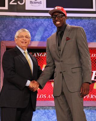 NEW YORK - JUNE 24:  Al-Farouq Aminu stands with NBA Commisioner David Stern after being drafted eigth by The Los Angeles Clippers at Madison Square Garden on June 24, 2010 in New York City.  NOTE TO USER: User expressly acknowledges and agrees that, by d