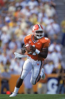 28 Oct 2000: Quarterback Woodrow Dantzler #1 of the Clemson Tigers runs as he look to pass the ball during the game against the Georgia Tech Yellow Jackets in Clemson, South Carolina. The Yellow  Jackets defeated the Tigers 31-28.Mandatory Credit: Craig J