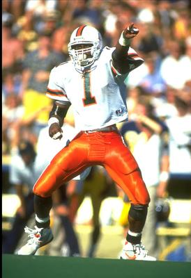 15 Sep 1990: UNIVERSITY OF MIAMI DEFENSEMAN JESSIE ARMSTEAD IN ACTION DURING THE HURRICANES 52-24 WIN OVER THE CAL GOLDEN BEARS AT MEMORIAL STADIUM IN BERKELEY, CALIFORNIA