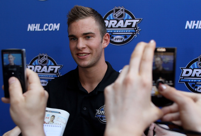 LOS ANGELES, CA - JUNE 24:  Jack Campbell is interviewed by members of the media during NHL top prospect media availibilty prior to the start of the 2010 NHL Draft outside Staples Center on June 24, 2010 in Los Angeles, California.  (Photo by Jeff Gross/G