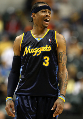 INDIANAPOLIS - NOVEMBER 10:  Allen Iverson #3 of the Denver Nuggets celebrates in the final minute of the NBA game against the Indiana Pacers at Conseco Fieldhouse November 10, 2007 in Indianapolis, Indiana. The Nuggets won 113-106. NOTE TO USER: User exp