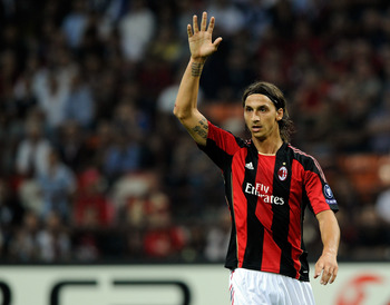 MILAN, ITALY - SEPTEMBER 15:  Zlatan Ibrahimovic of AC Milan during the UEFA Champions League group G match between AC Milan and Auxerre at San Siro Stadium on September 15, 2010 in Milan, Italy.  (Photo by Claudio Villa/Getty Images)