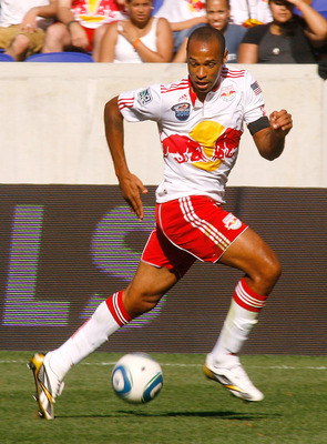 HARRISON, NJ - SEPTEMBER 11: Thierry Henry #14 of the New York Red Bulls plays the ball against the Colorado Rapids during the game at Red Bull Arena on September 11, 2010 in Harrison, New Jersey. (Photo by Andy Marlin/Getty Images)