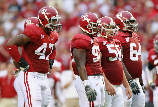 TUSCALOOSA, AL - SEPTEMBER 11:  (L-R) Ed Stinson #47, Damion Square #92, Nick Gentry #58, and Kerry Murphy #64 of the Alabama Crimson Tide against the Penn State Nittany Lions at Bryant-Denny Stadium on September 11, 2010 in Tuscaloosa, Alabama.  (Photo b
