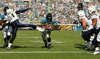 JACKSONVILLE, FL - NOVEMBER 18:  Maurice Jones-Drew #32 of the Jacksonville Jaguars scores a touchdown in a game against the San Diego Chargers at Jacksonville Municipal Stadium on November 18, 2007 in Jacksonville, Florida. (Photo by Sam Greenwood/Getty