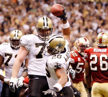 NEW ORLEANS - SEPTEMBER 28:  Deuce McAllister #26 of the New Orleans Saints celebrates after scoring a touchdown against the San Francisco 49ers on September 28 2008 at the Superdome in New Orleans, Louisiana.  The Saints defeated the 49ers 31-17.  (Photo