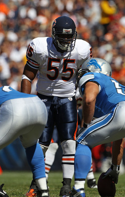 CHICAGO - SEPTEMBER 12: Lance Briggs #55 of the Chicago Bears awaits the start of play against the Detroit Lions during the NFL season opening game at Soldier Field on September 12, 2010 in Chicago, Illinois. The Bears defeated the Lions 19-14. (Photo by