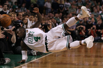 BOSTON - JUNE 10:  Nate Robinson #4 of the Boston Celltics falls out of bounds going after a loose ball in the fourth quarter against the Los Angeles Lakers during Game Four of the 2010 NBA Finals on June 10, 2010 at TD Garden in Boston, Massachusetts. NO