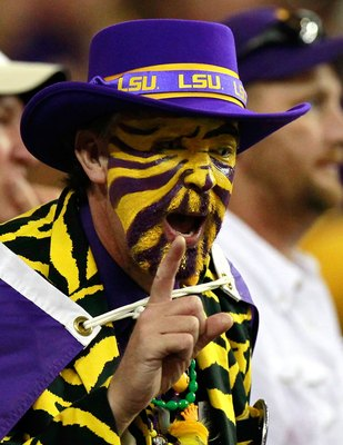 ATLANTA - SEPTEMBER 04:  A fan of the LSU Tigers against the North Carolina Tar Heels during the Chick-fil-A Kickoff Game at Georgia Dome on September 4, 2010 in Atlanta, Georgia.  (Photo by Kevin C. Cox/Getty Images)