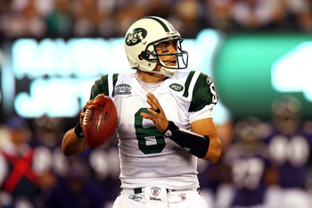 EAST RUTHERFORD, NJ - SEPTEMBER 13:  Mark Sanchez #6 of the New York Jets looks to throw against the Baltimore Ravens during their home opener at the New Meadowlands Stadium on September 13, 2010 in East Rutherford, New Jersey.  (Photo by Andrew Burton/Ge