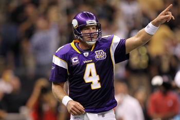 NEW ORLEANS - SEPTEMBER 09:  Quarterback Brett Favre #4 of the Minnesota Vikings at Louisiana Superdome on September 9, 2010 in New Orleans, Louisiana.  (Photo by Ronald Martinez/Getty Images)