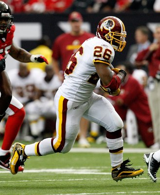 ATLANTA - NOVEMBER 08:  Clinton Portis #26 of the Washington Redskins against of the Atlanta Falcons at Georgia Dome on November 8, 2009 in Atlanta, Georgia.  (Photo by Kevin C. Cox/Getty Images)