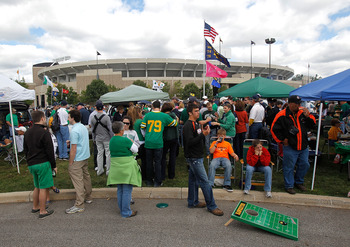 SOUTH BEND, IN - SEPTEMBER 04: Fans tailgate outside of Notre Dame Stadium before a game between the Notre Dame Fighting Irish and the Purdue Boilermakers at Notre Dame Stadium on September 4, 2010 in South Bend, Indiana. (Photo by Jonathan Daniel/Getty I