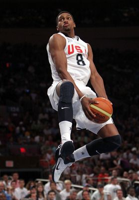 NEW YORK - AUGUST 15:  Rudy Gay #8 of the United States goes up for the dunk against France during their exhibition game as part of the World Basketball Festival at Madison Square Garden on August 15, 2010 in New York City.  (Photo by Nick Laham/Getty Ima