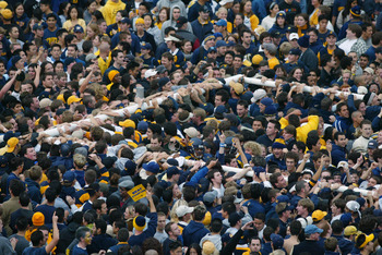 BERKELEY, CA - NOVEMBER 23:  Fans of the California Golden Bears tear down a goalpost following the 105th Big Game against the Stanford Cardinal at Memorial Stadium on November 23, 2002 in Berkeley, California.  California won 30-7.  (Photo by: Donald Mir