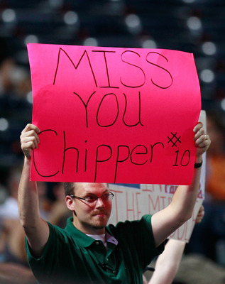 ATLANTA - SEPTEMBER 09:  A fan holds up a sign for Chipper Jones #10 of the Atlanta Braves during the game against the St. Louis Cardinals at Turner Field on September 9, 2010 in Atlanta, Georgia.  (Photo by Kevin C. Cox/Getty Images)