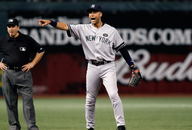 ST. PETERSBURG, FL - SEPTEMBER 14:  Infielder Derek Jeter #2 of the New York Yankees shouts for help from the umpire against the Tampa Bay Rays during the game at Tropicana Field on September 14, 2010 in St. Petersburg, Florida.  (Photo by J. Meric/Getty