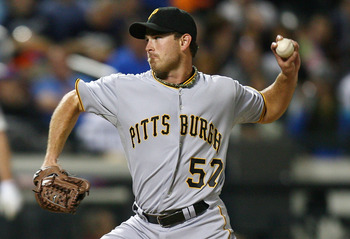 NEW YORK - SEPTEMBER 14:  Zach Duke #57 of the Pittsburgh Pirates pitches against the New York Mets on September 14, 2010 at Citi Field in the Flushing neighborhood of the Queens borough of New York City.  (Photo by Andrew Burton/Getty Images)