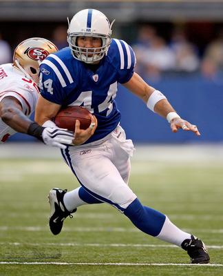 INDIANAPOLIS - NOVEMBER 01:  Dallas Clark #44 of the Indianapolis Colts runs with the ball during the NFL game against the San Francisco 49ers at Lucas Oil Stadium on November 1, 2009 in Indianapolis, Indiana.  (Photo by Andy Lyons/Getty Images)