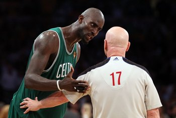 LOS ANGELES, CA - JUNE 17:  Kevin Garnett #5 of the Boston Celtics talks with referee Joe Crawford while taking on the Los Angeles Lakers in Game Seven of the 2010 NBA Finals at Staples Center on June 17, 2010 in Los Angeles, California.  NOTE TO USER: Us
