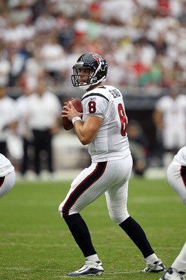 HOUSTON - SEPTEMBER 12:  Quarterback Matt Schaub #8 at Reliant Stadium on September 12, 2010 in Houston, Texas.  (Photo by Ronald Martinez/Getty Images)