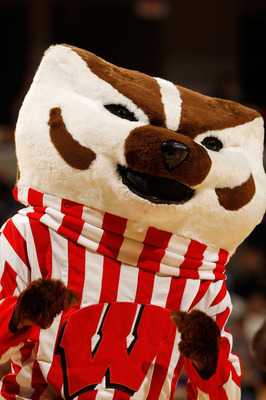 INDIANAPOLIS - MARCH 12:  Bucky Badger, mascot of the Wisconsin Badgers performs during the game against the Illinois Fighting Illini in the quarterfinals of the Big Ten Men's Basketball Tournament at Conseco Fieldhouse on March 12, 2010 in Indianapolis,