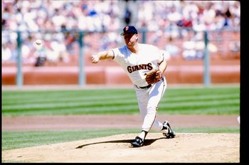 1990:  Pitcher Rick Reuschel of the San Francisco Giants throws a pitch during a game at Candlestick Park in San Francisco, California. Mandatory Credit: Otto Greule  /Allsport