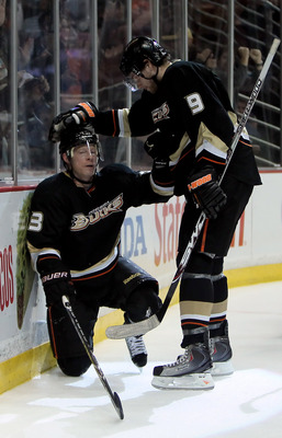 ANAHEIM, CA - MARCH 03:  Jason Blake (L) #33 of the Anaheim Ducks is congratulated by Bobby Ryan #9 after scoring a goal in the first period against the Colorado Avalanche at the Honda Center on March 3, 2010 in Anaheim, California.  (Photo by Jeff Gross/